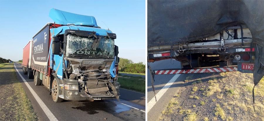 Choque de camiones en la ruta 12